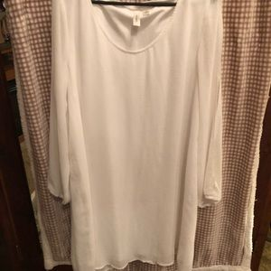 Long sleeve with slits white dress.